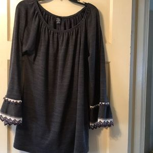 Crochet knit trim bell sleeve tunic